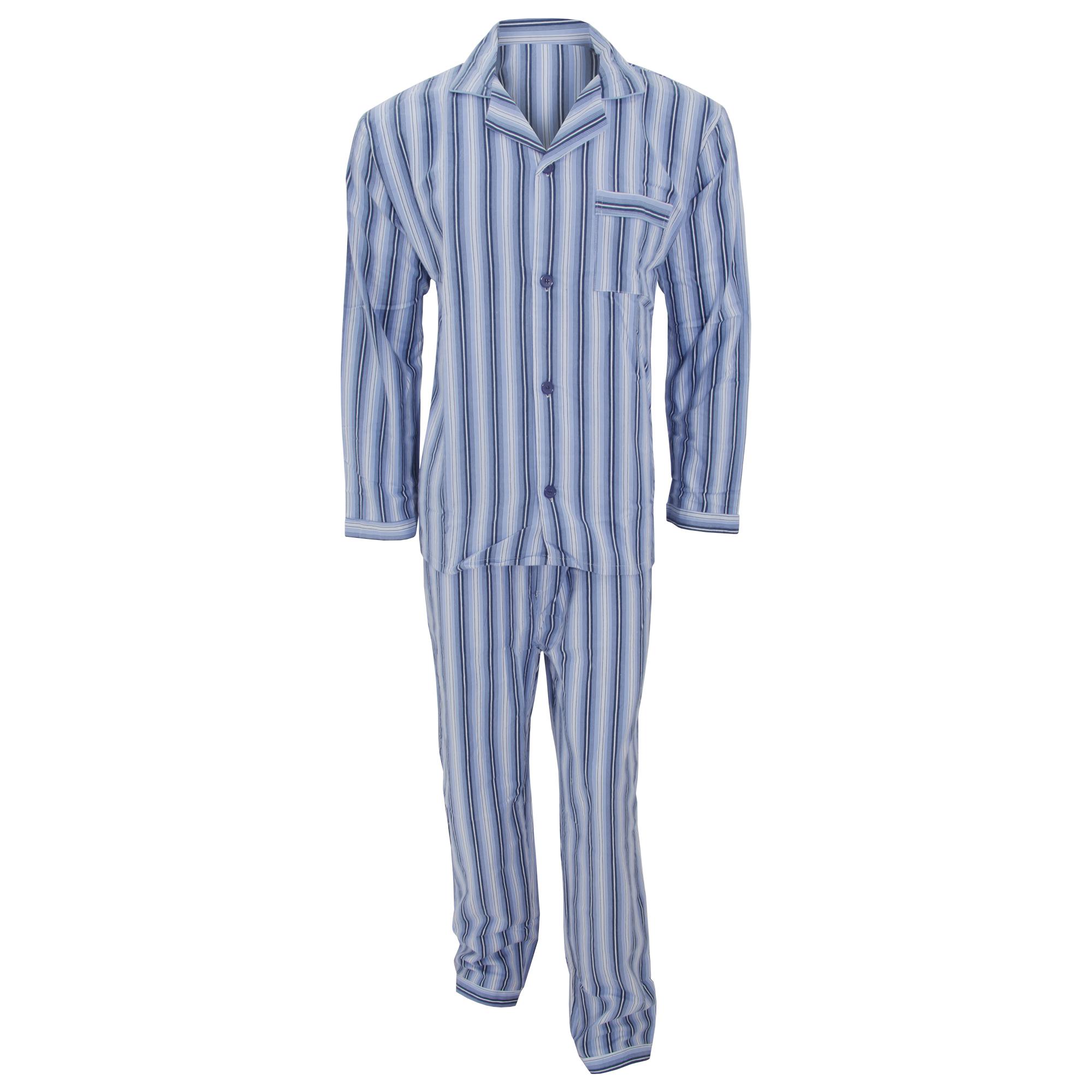herren langarm flanell pyjama mit streifen muster ebay. Black Bedroom Furniture Sets. Home Design Ideas