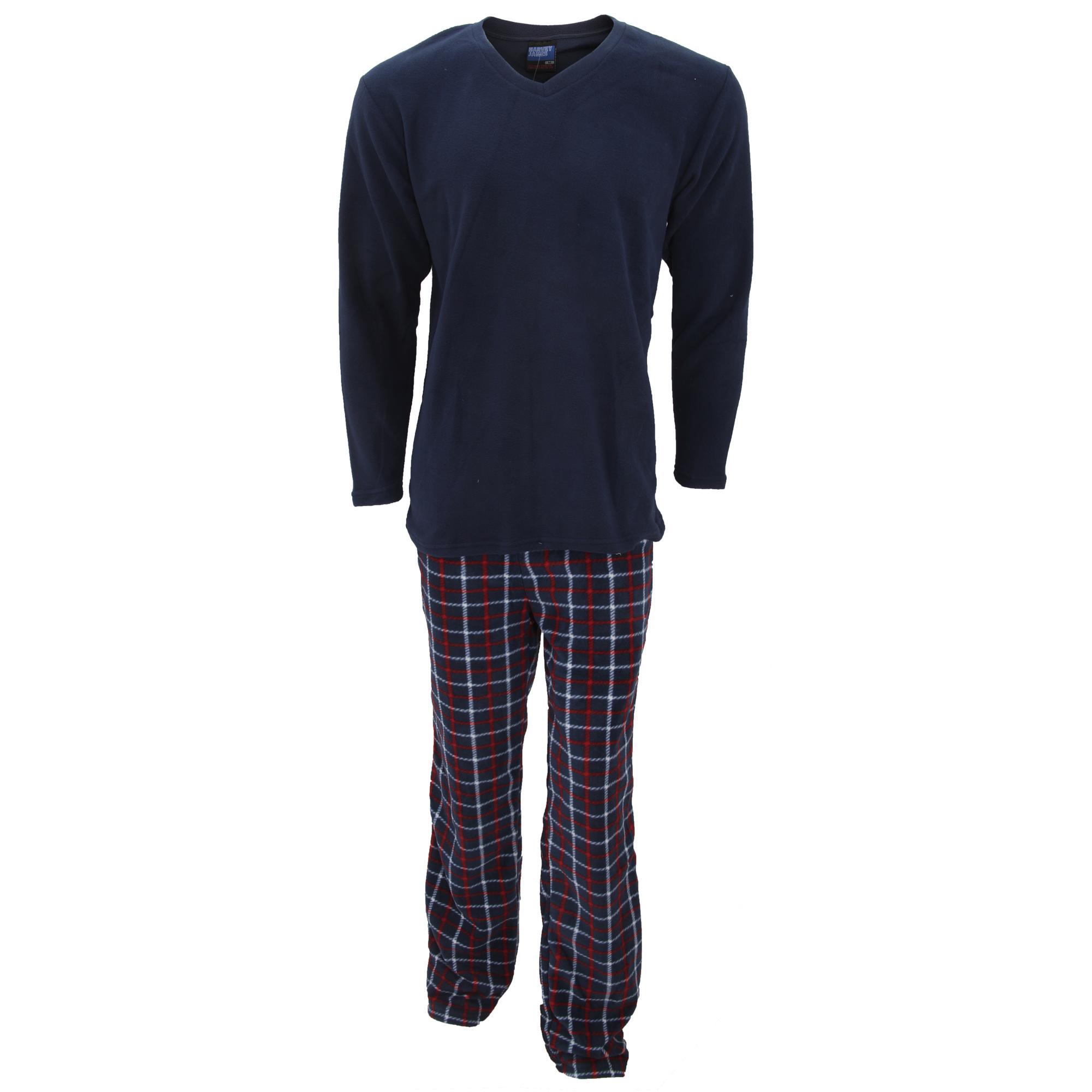 herren fleece thermo schlafanzug mit karo hose ebay. Black Bedroom Furniture Sets. Home Design Ideas