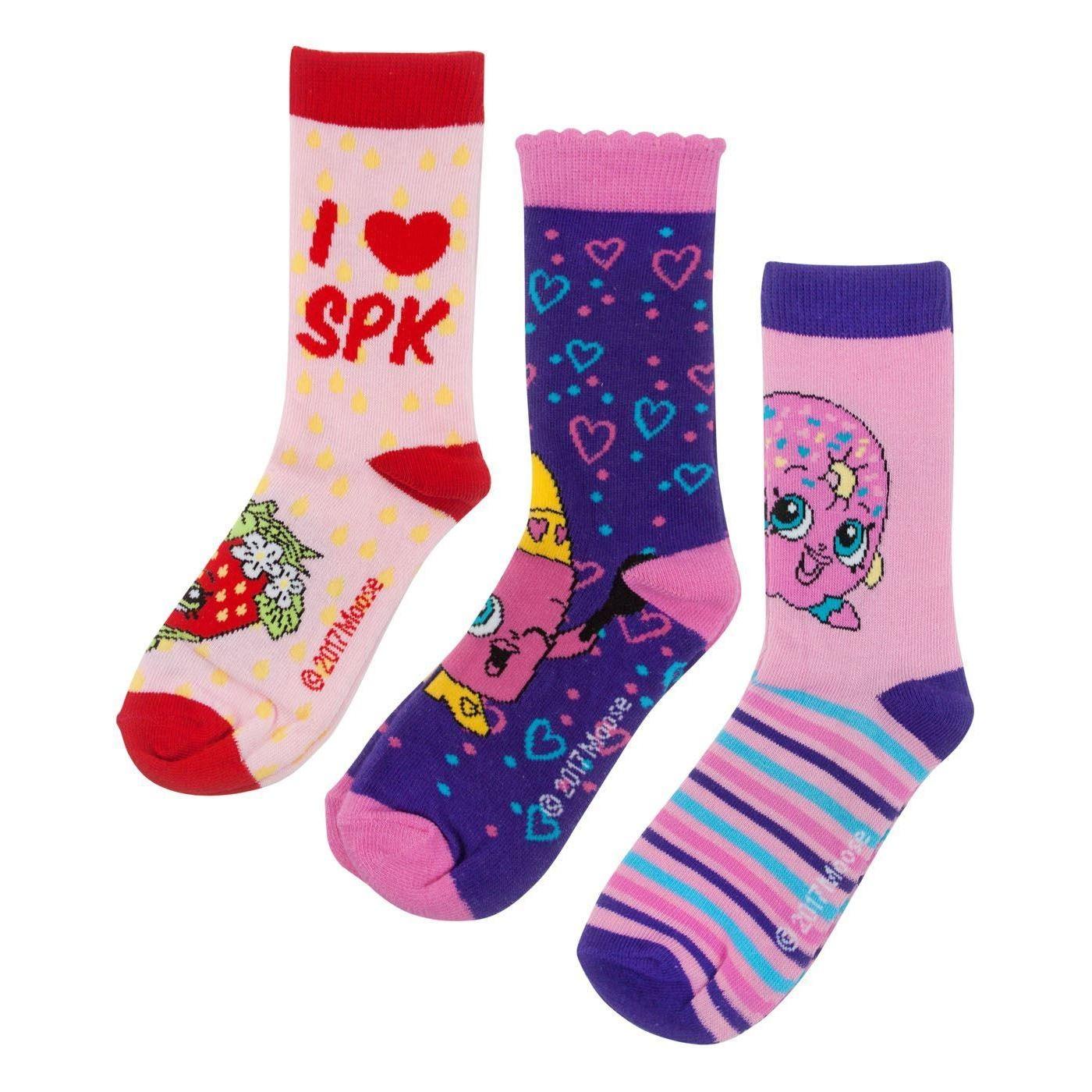 Shopkins-Childrens-Girls-Assorted-Character-Socks-Set-3-Pairs-NS4882