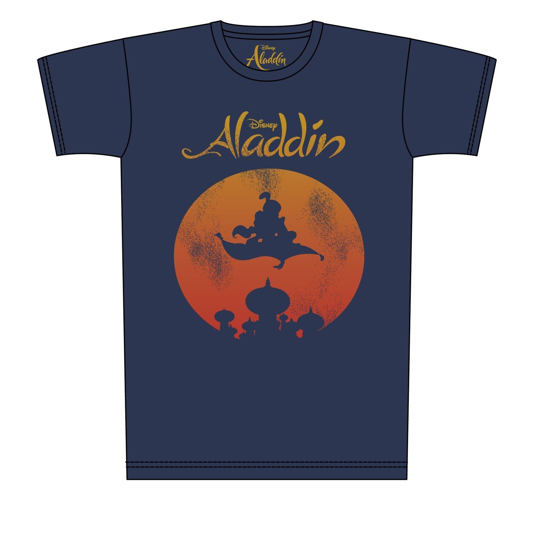Aladdin Mens Magic Carpet Distressed Print T-Shirt (3XL) (Navy)