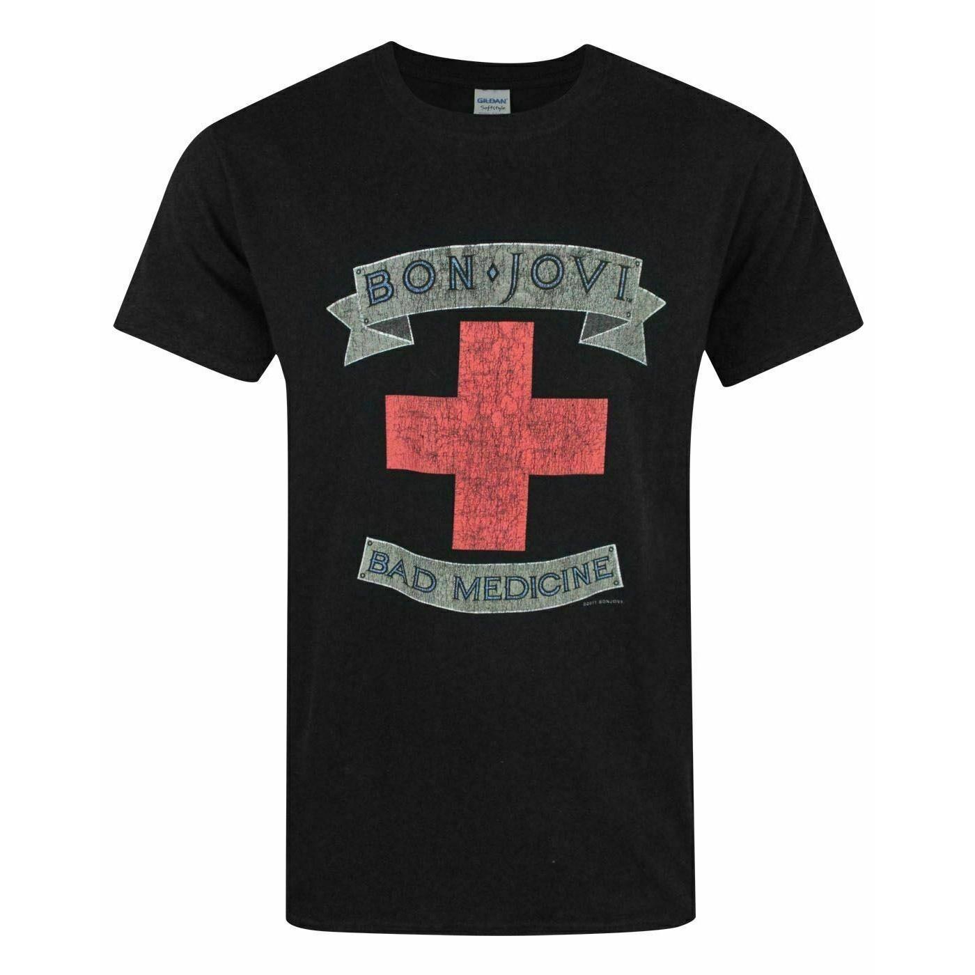 Bon Jovi Mens Bad Medicine T-Shirt (XXL) (Black)