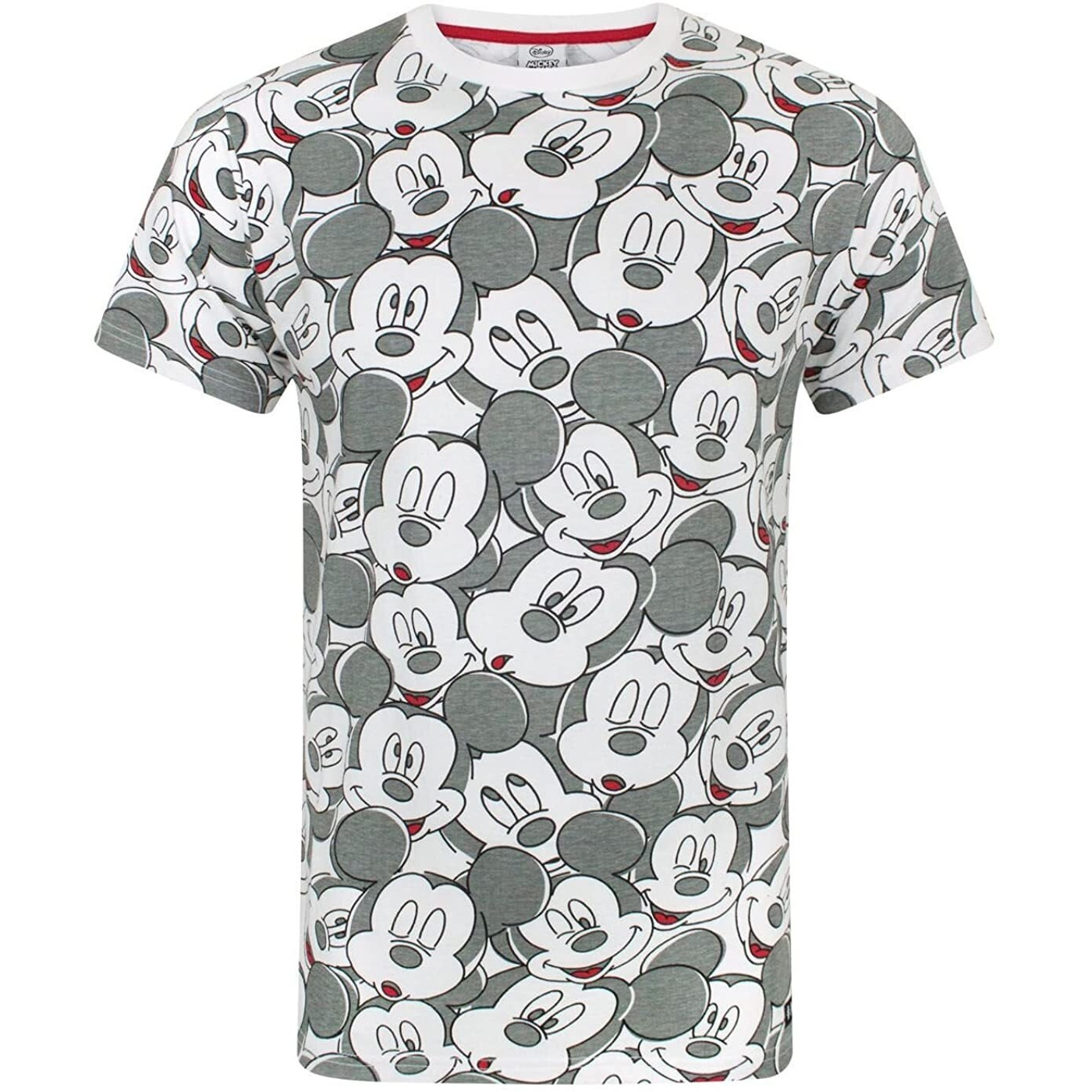 Mickey Mouse Mens Faces All-Over Print T-Shirt (L) (White/Grey)
