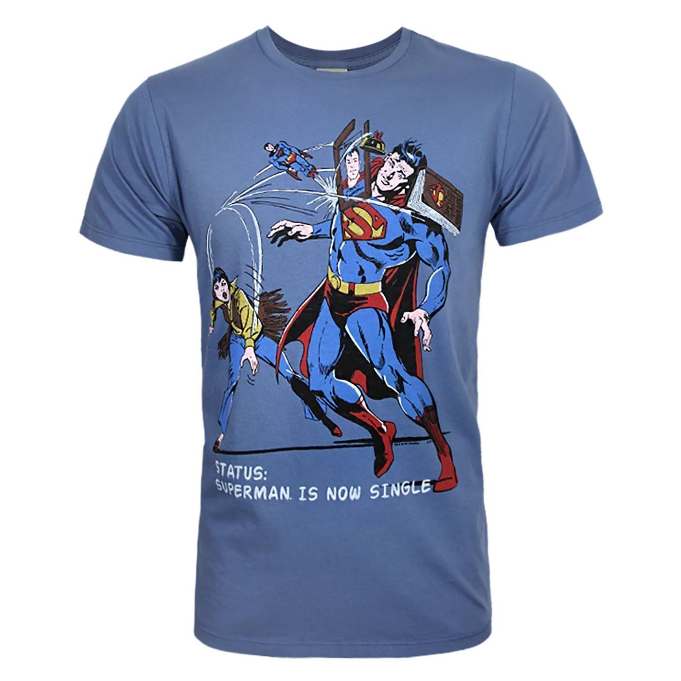 Junk Food Mens Superman Is Now Single Superman T-Shirt (L) (Blue Print)