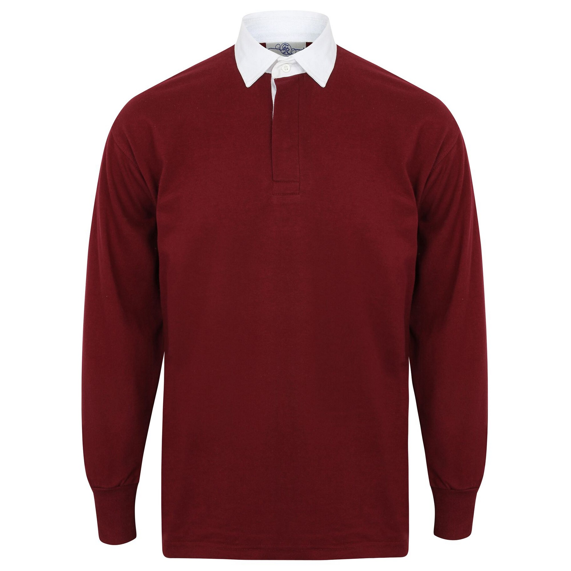 Front Row Long Sleeve Classic Rugby Polo Shirt (XL) (Deep Burgundy/White)