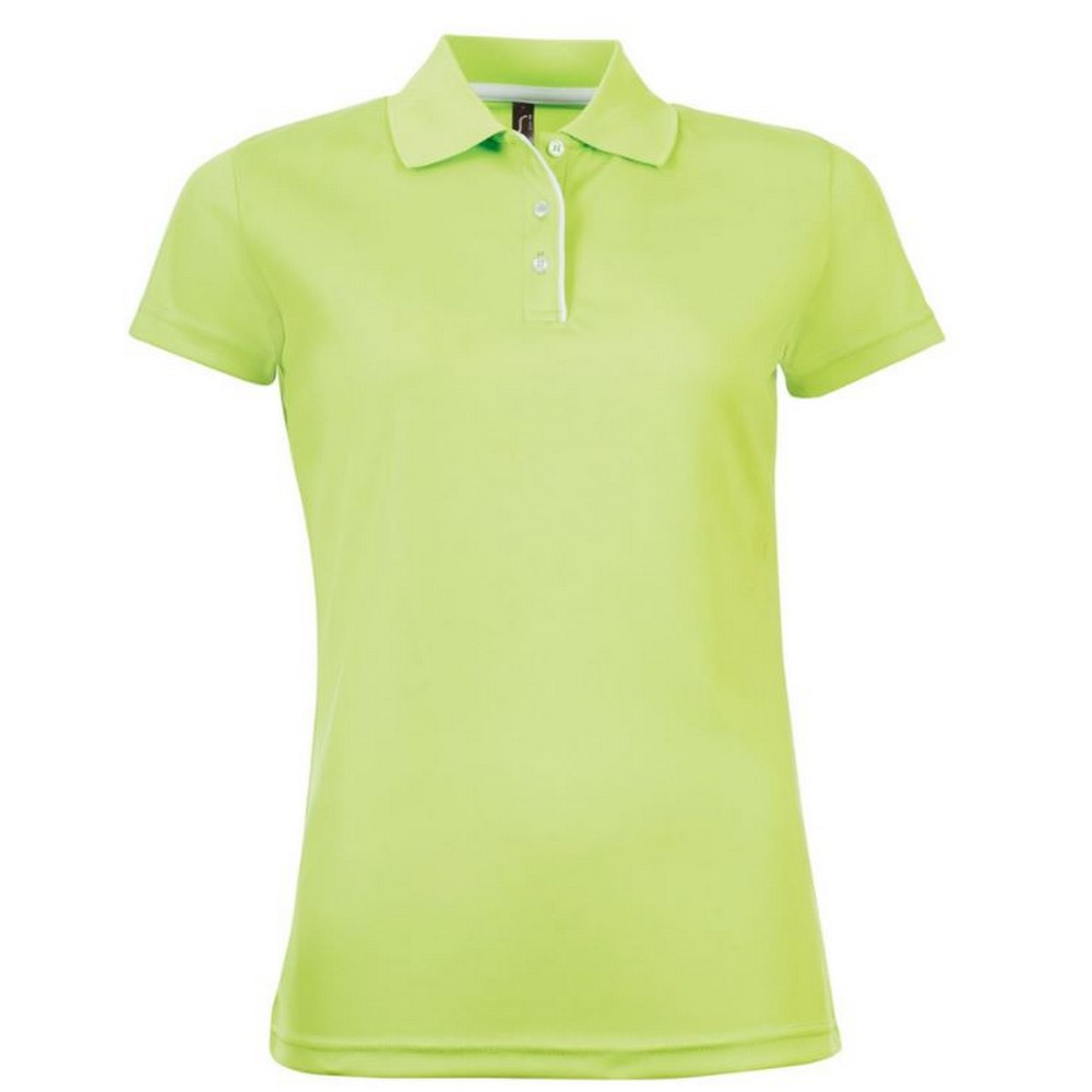 SOLS Womens/Ladies Performer Short Sleeve Pique Polo Shirt (XXL) (Apple Green)