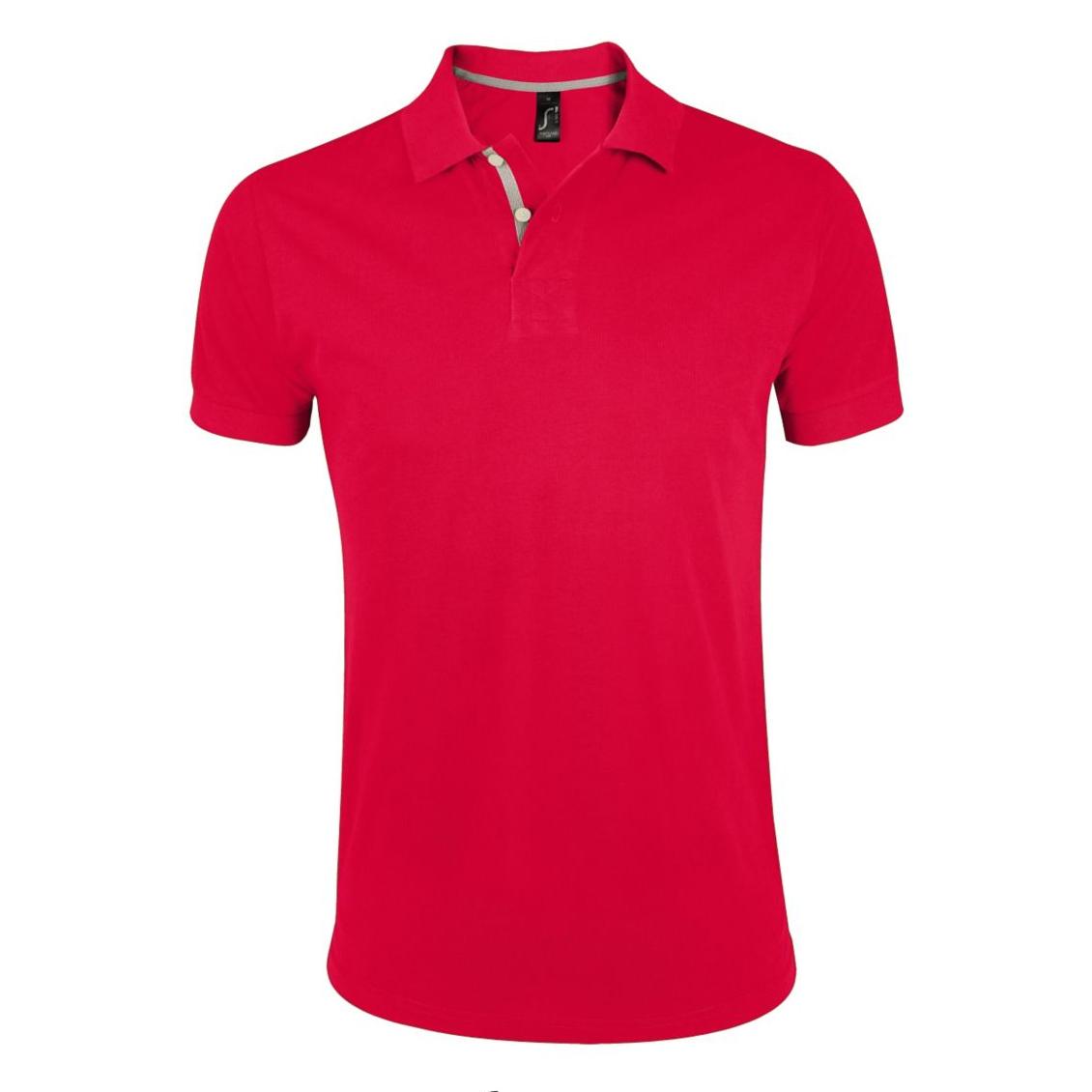 SOLS Mens Portland Short Sleeve Pique Polo Shirt (M) (Red)