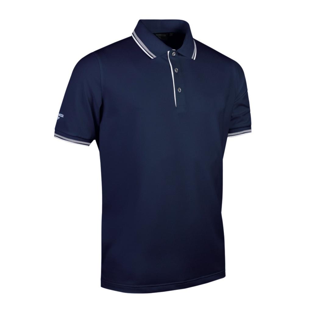 Glenmuir Mens Tipped Short Sleeve Moisture Wicking Polo Shirt (L) (Navy/White)