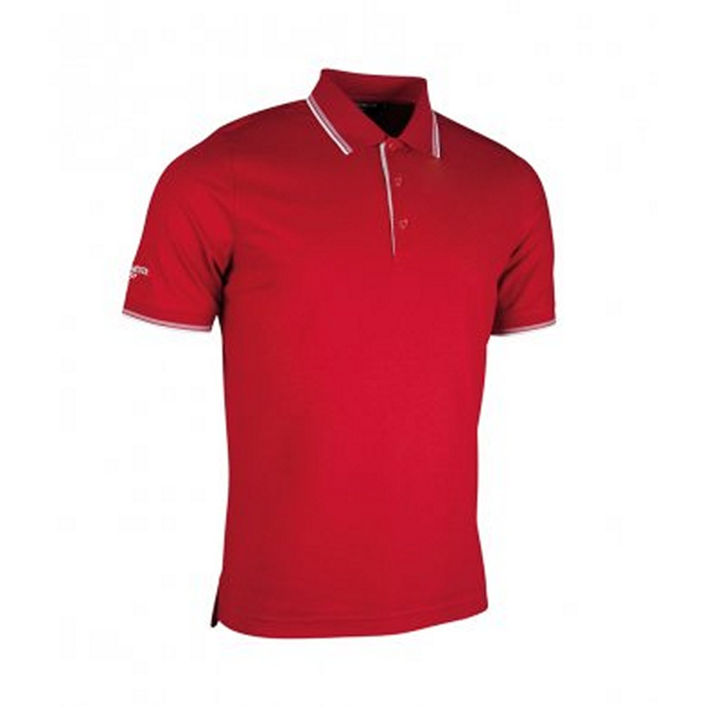 Glenmuir Mens Tipped Short Sleeve Moisture Wicking Polo Shirt (XL) (Garnet/White)