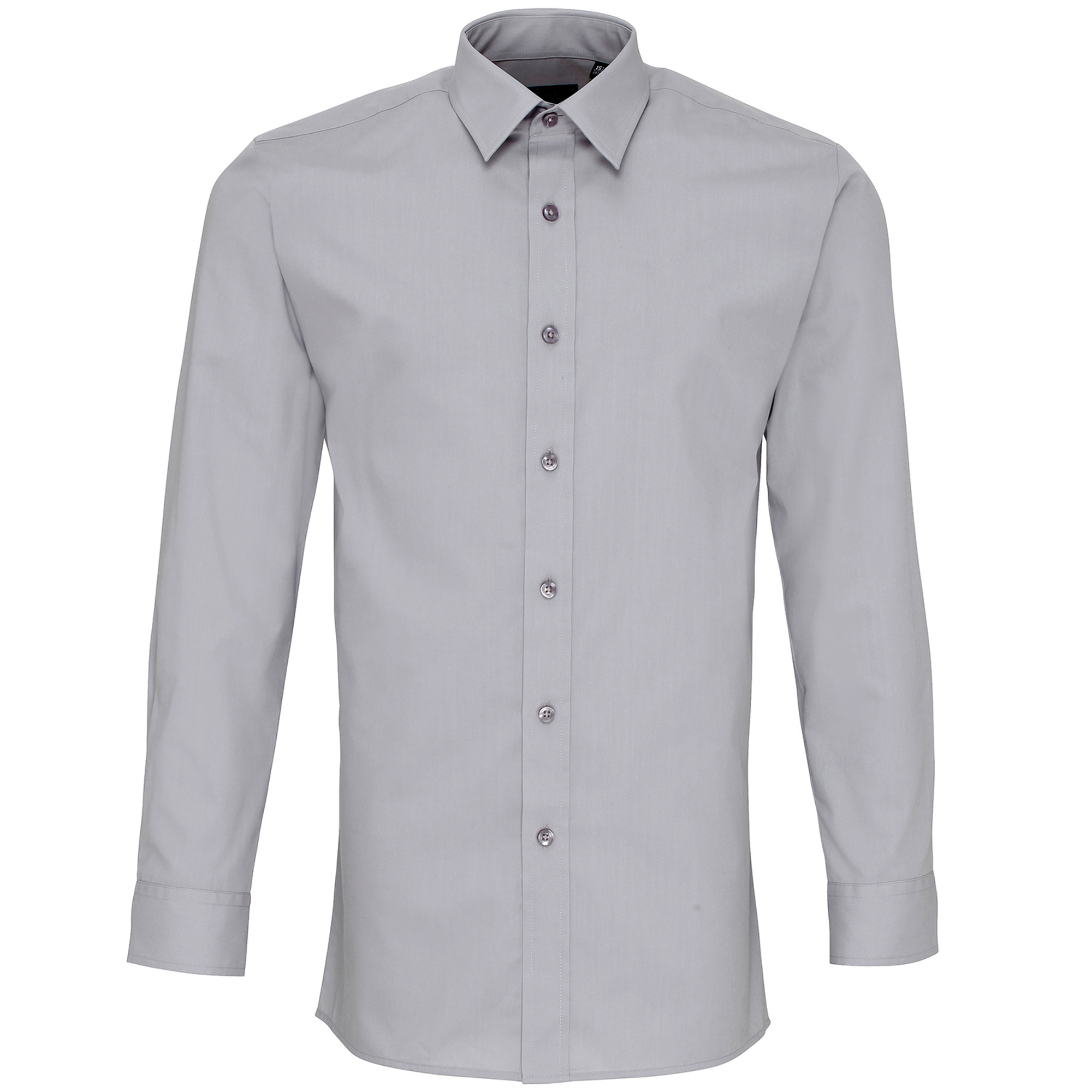 Premier Mens Long Sleeve Fitted Poplin Work Shirt (16) (Silver)