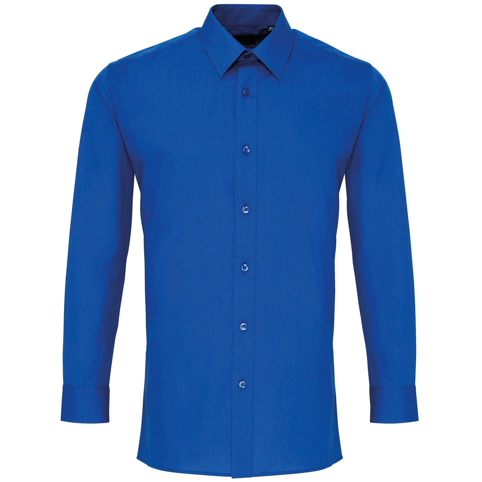 Premier Mens Long Sleeve Fitted Poplin Work Shirt (15.5) (Royal)