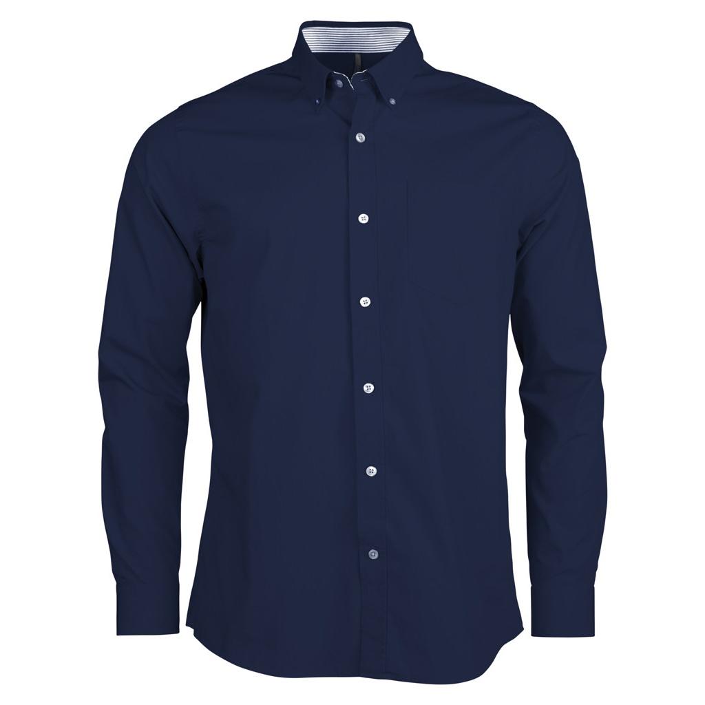 Kariban Mens Long Sleeve Washed Poplin Shirt (XXL) (Navy)