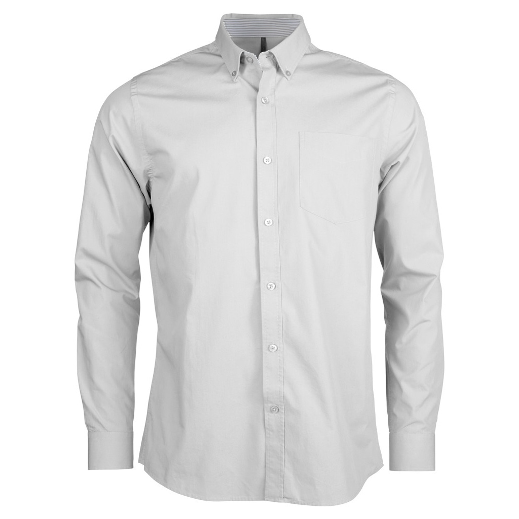 Kariban Mens Long Sleeve Washed Poplin Shirt (XL) (White)