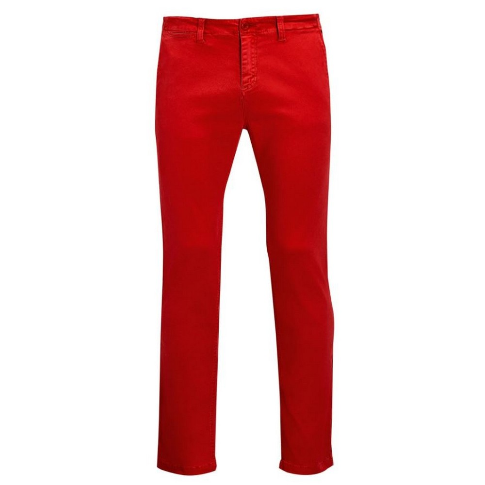 SOLS Mens Jules Chino Trousers (34) (Poppy Red)