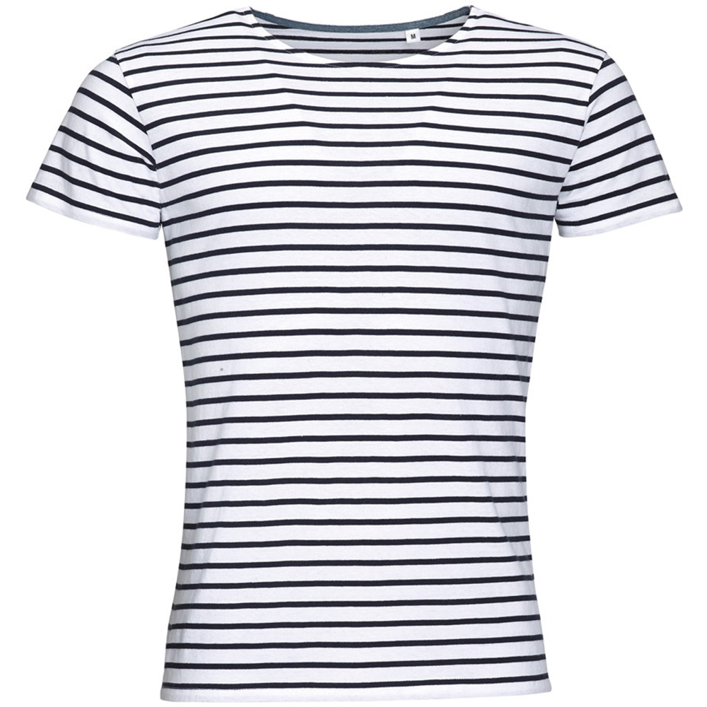 SOLS Mens Miles Striped Short Sleeve T-Shirt (L) (White/Navy)