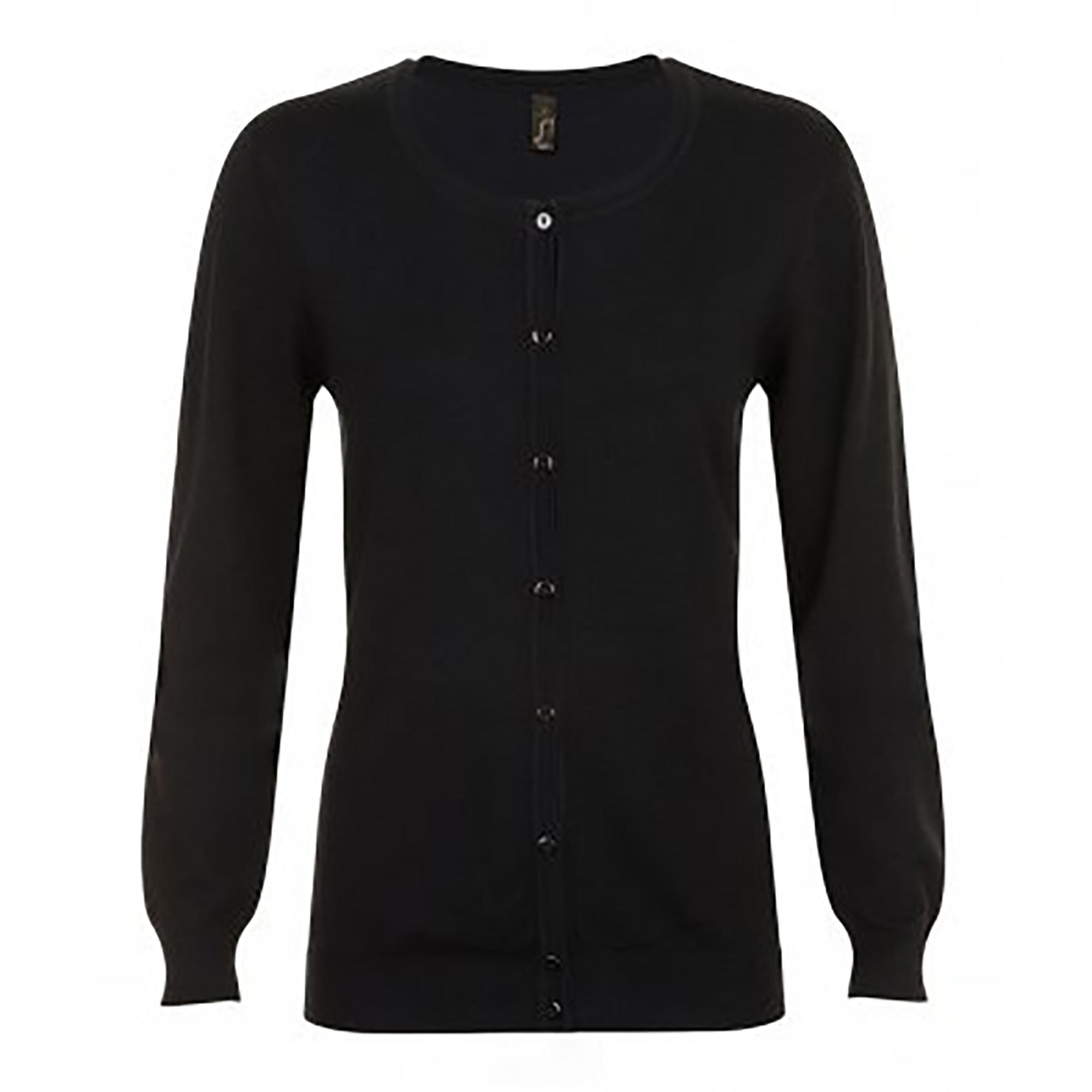 SOLS Womens/Ladies Griffith V Neck Long Sleeve Cardigan (M) (Black)