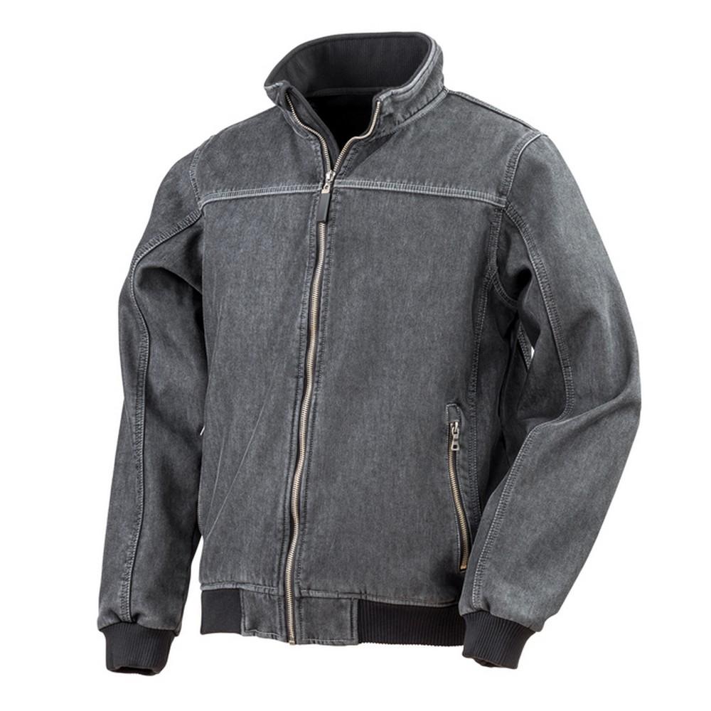 Result Mens Stone Wash Denim Bomber Jacket (4XL) (Washed Black)