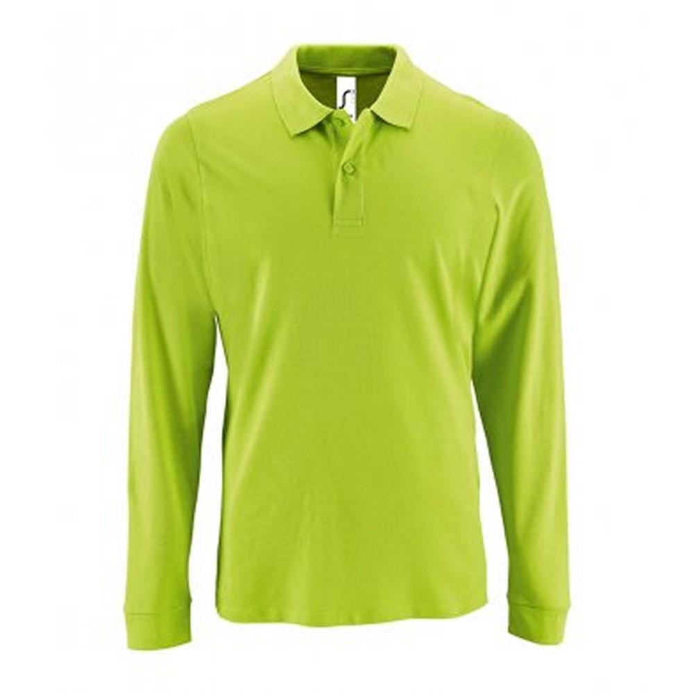 SOLS Mens Perfect Long Sleeve Pique Polo Shirt (S) (Apple Green)