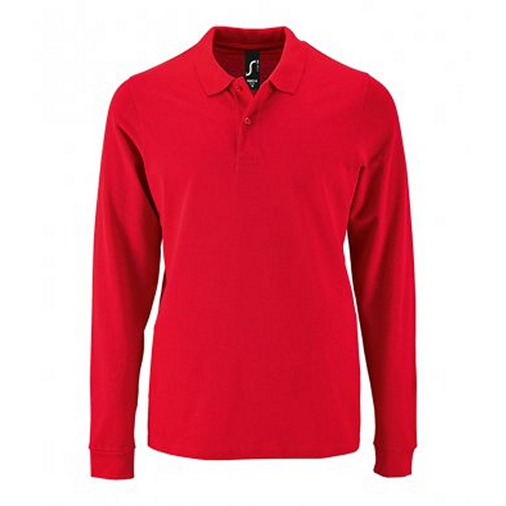 SOLS Mens Perfect Long Sleeve Pique Polo Shirt (L) (Red)