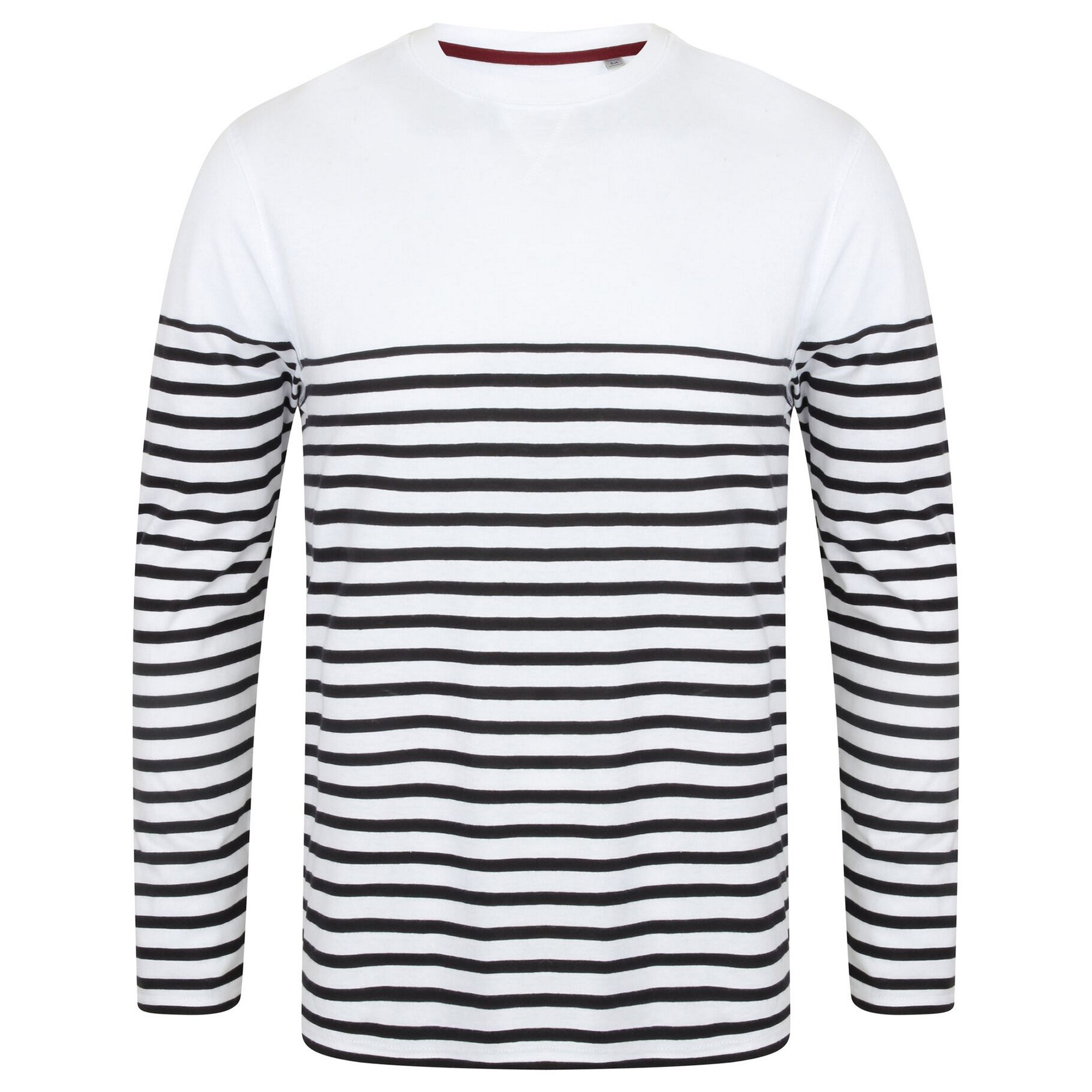 Front Row Mens Long Sleeve Breton Stripe T-Shirt (L) (White/Navy)