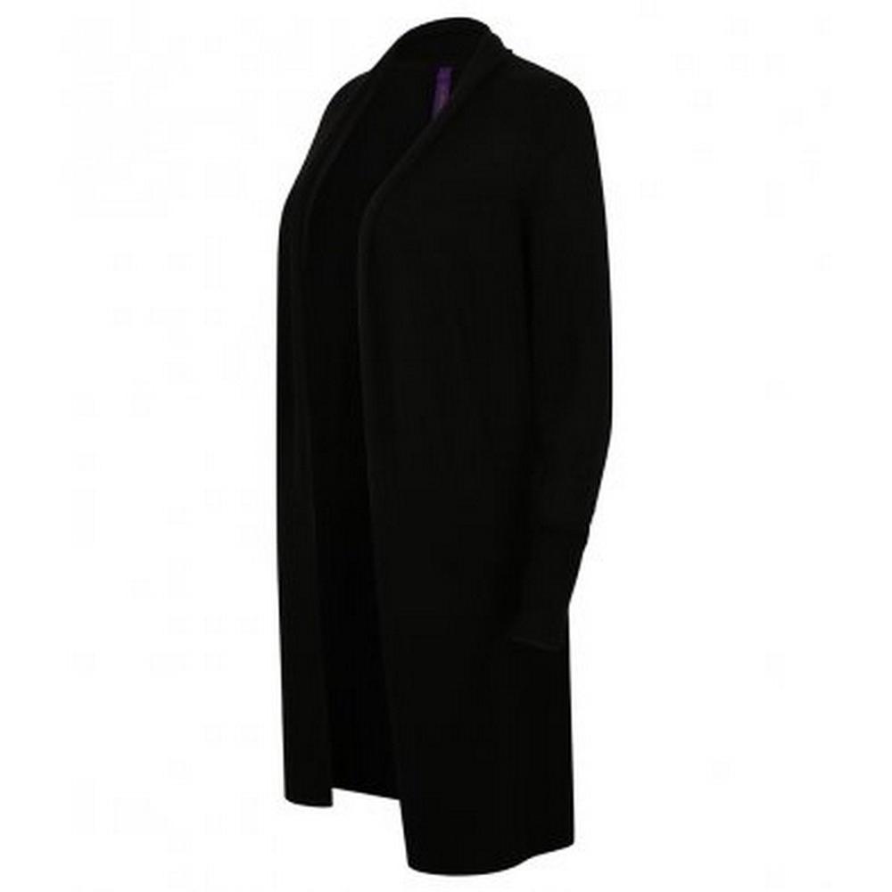 Henbury Womens/Ladies Long Line Open Cardigan (3XL) (Black)