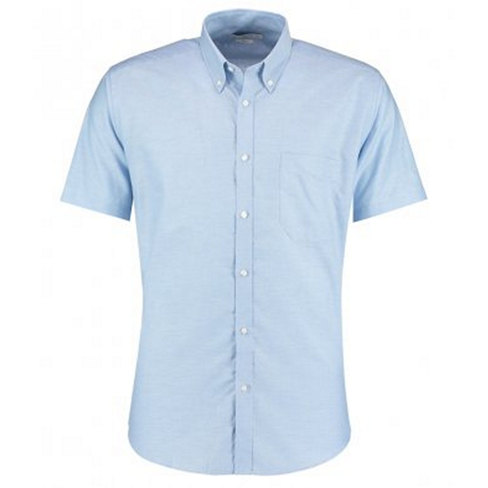 Kustom Kit Mens Slim Fit Short Sleeve Oxford Shirt (15) (Light Blue)