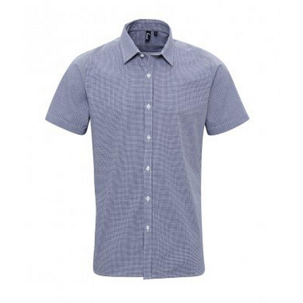 Premier Mens Gingham Short Sleeve Shirt (S) (Navy/White)