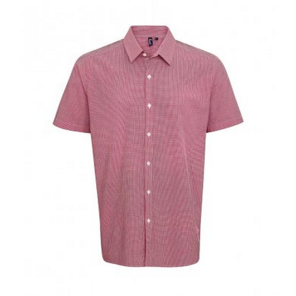 Premier Mens Gingham Short Sleeve Shirt (XXL) (Red/White)