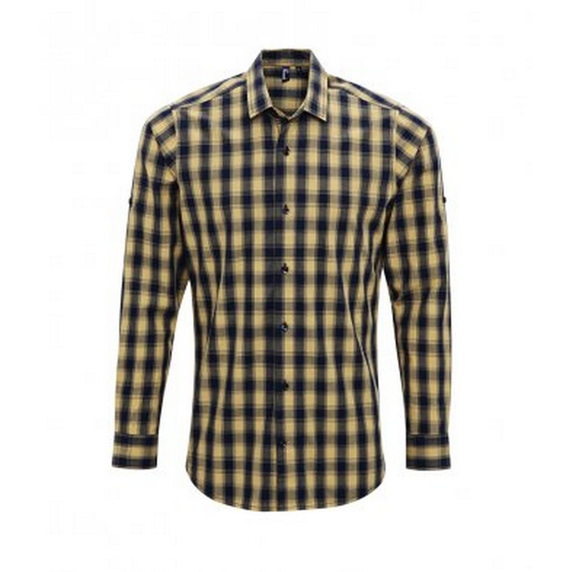 Premier Mens Mulligan Check Long Sleeve Shirt (S) (Camel/Navy)