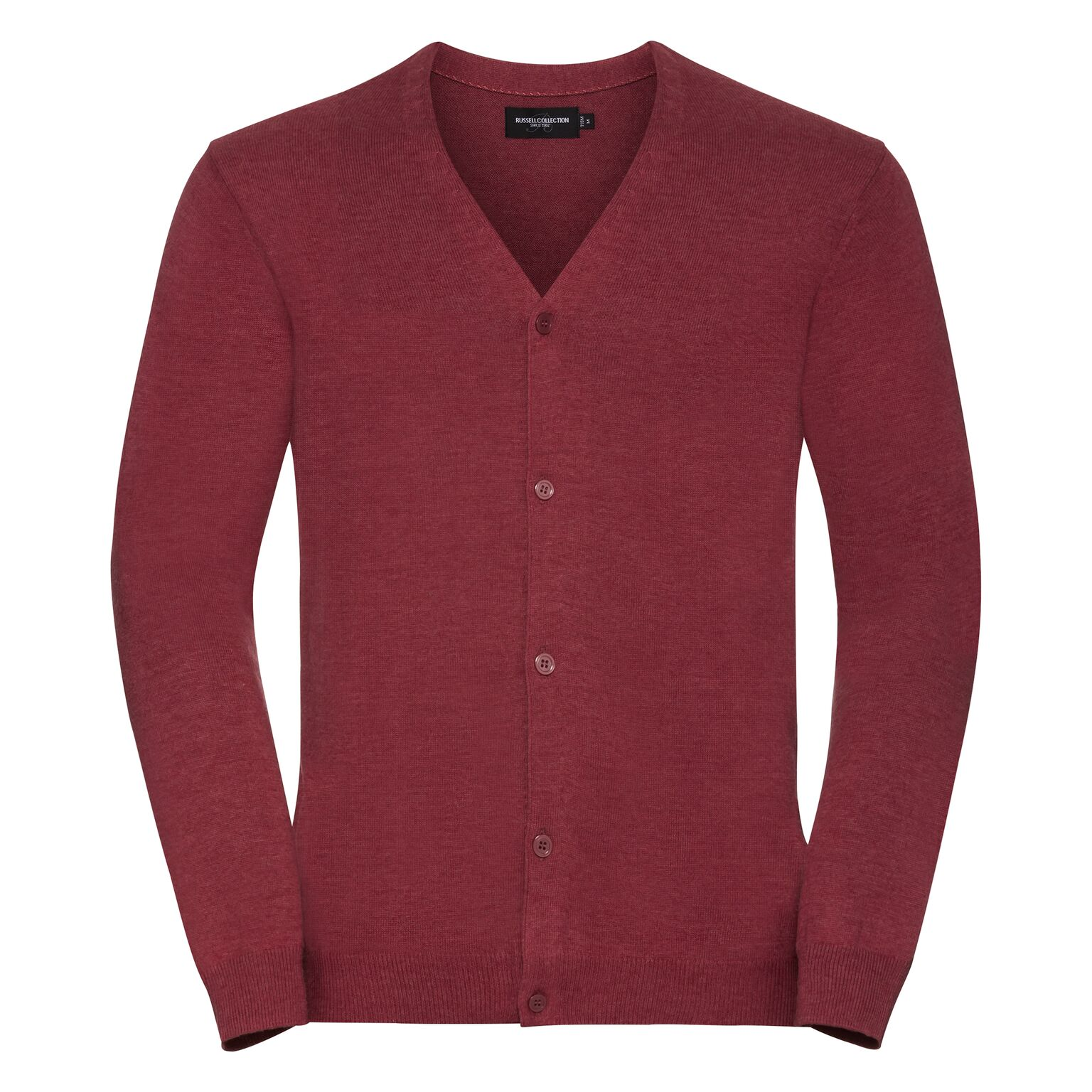 Russell Mens Cotton Acrylic V Neck Cardigan (4XL) (Cranberry Marl)
