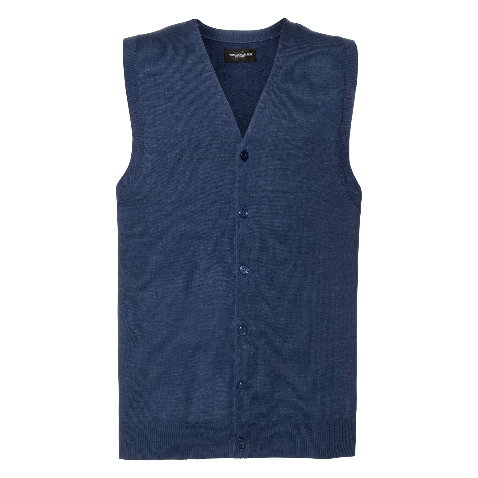 Russell Mens Sleeveless Cotton Acrylic V Neck Cardigan (XS) (Denim Marl)