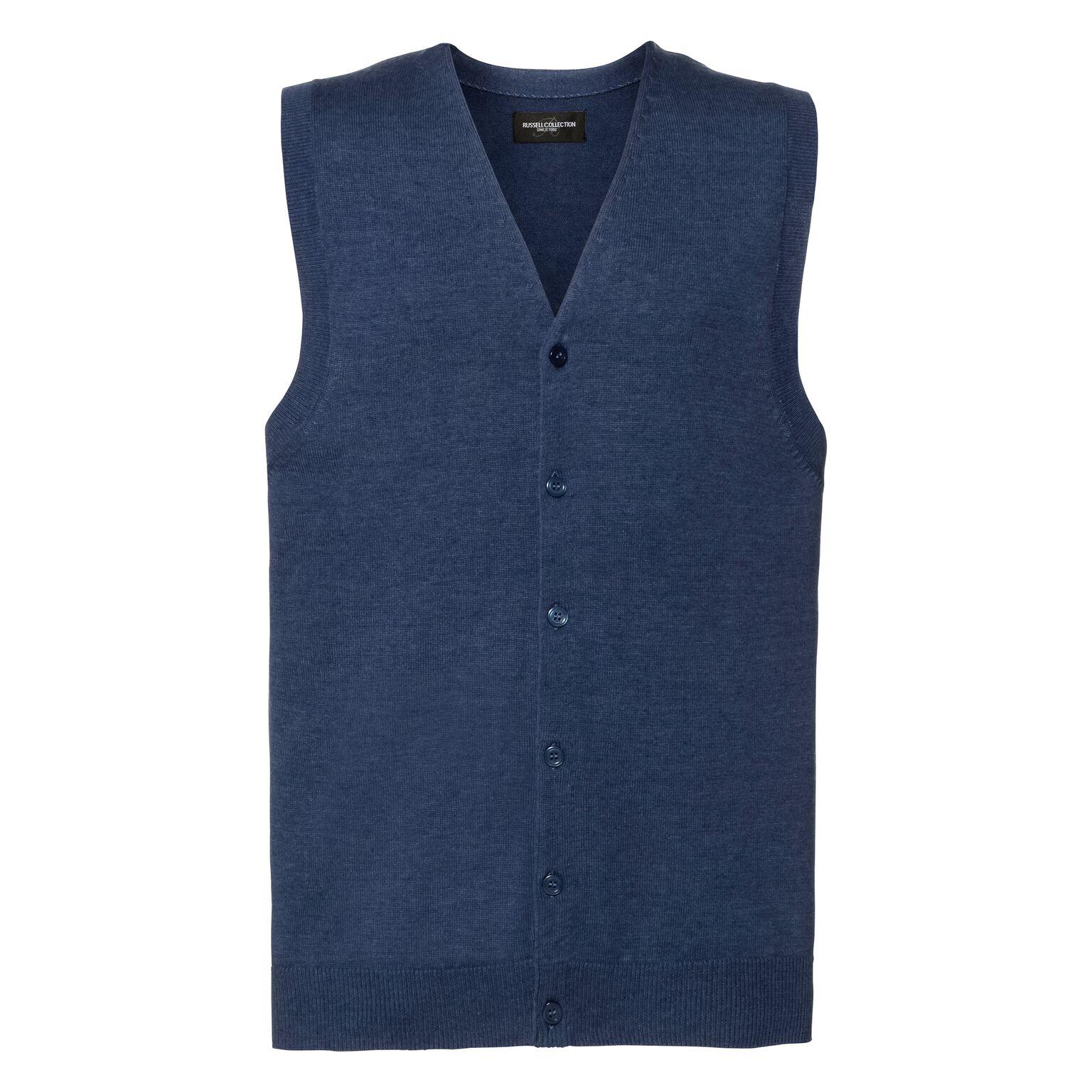 Russell Mens Sleeveless Cotton Acrylic V Neck Cardigan (3XL) (Denim Marl)