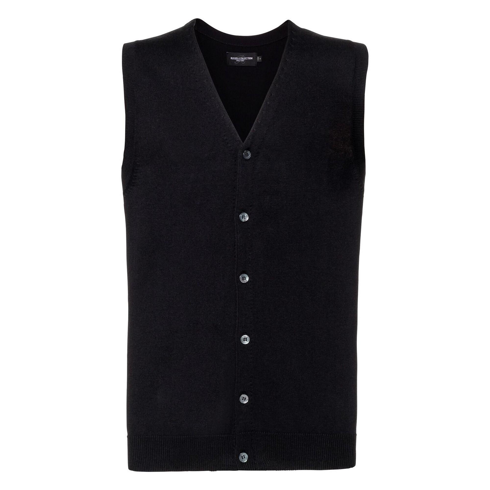 Russell Mens Sleeveless Cotton Acrylic V Neck Cardigan (2XS) (Black)