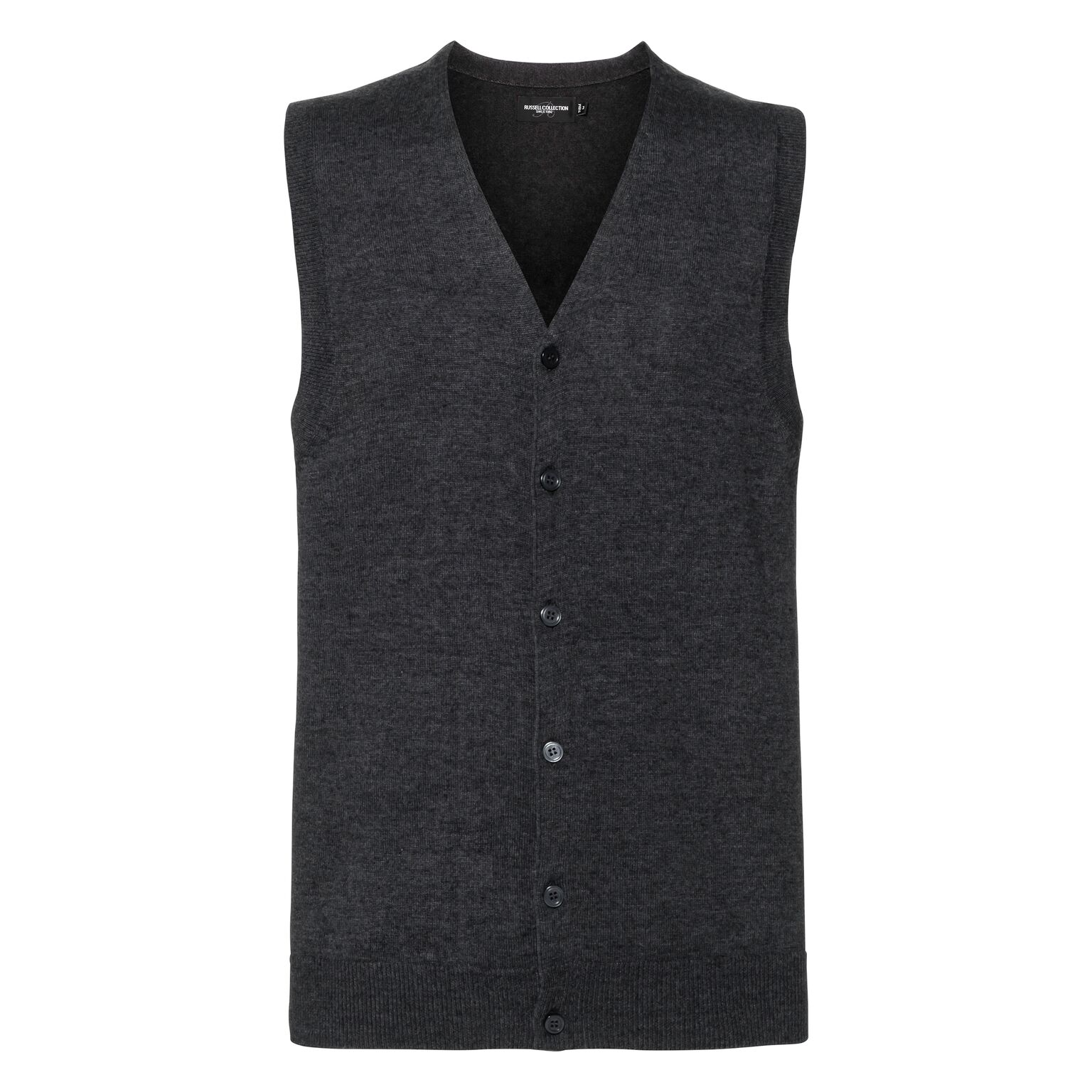 Russell Mens Sleeveless Cotton Acrylic V Neck Cardigan (XS) (Charcoal Marl)