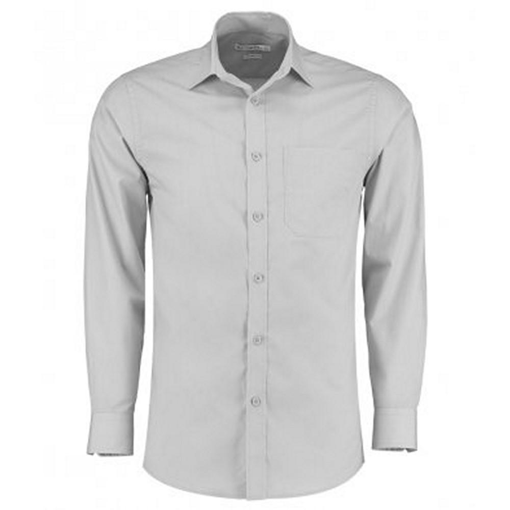 Kustom Kit Mens Long Sleeve Tailored Poplin Shirt (21) (Light Grey)