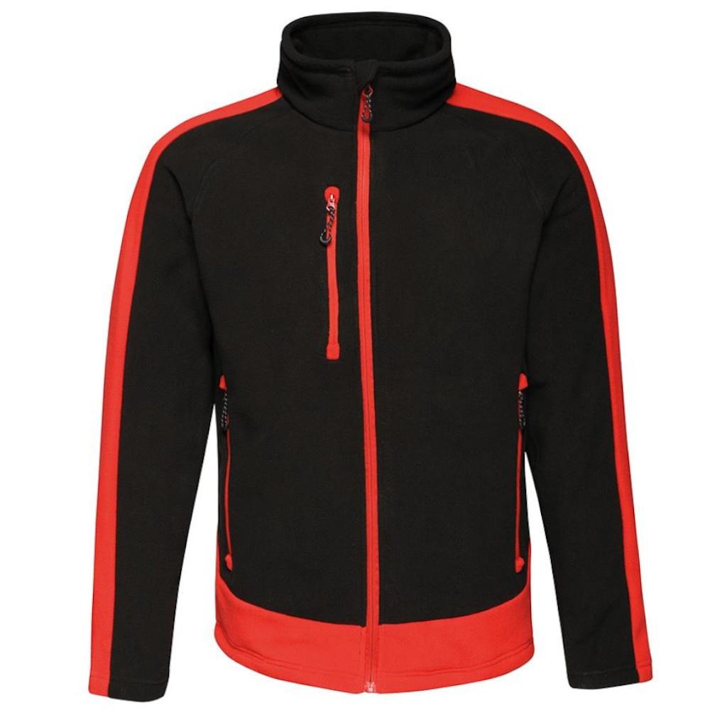 Regatta Mens Contrast 300 Fleece Jacket (S) (Black/Classic Red)