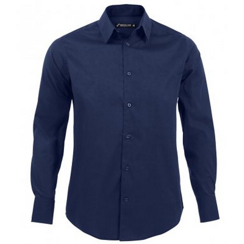 SOLS Mens Brighton Long Sleeve Fitted Work Shirt (L) (Dark Blue)