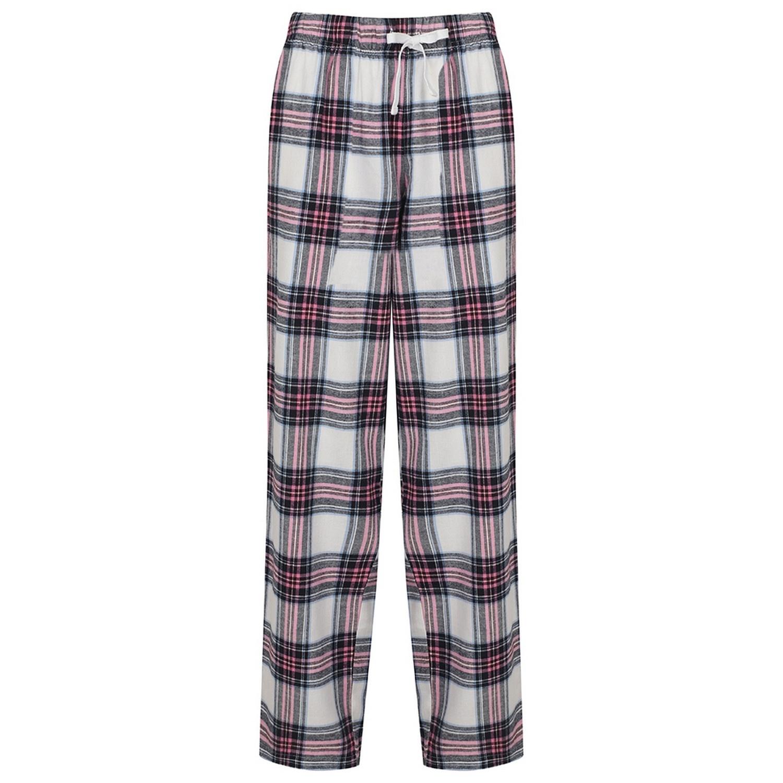 SF Womens/Ladies Tartan Lounge Pants (S) (White/Pink)
