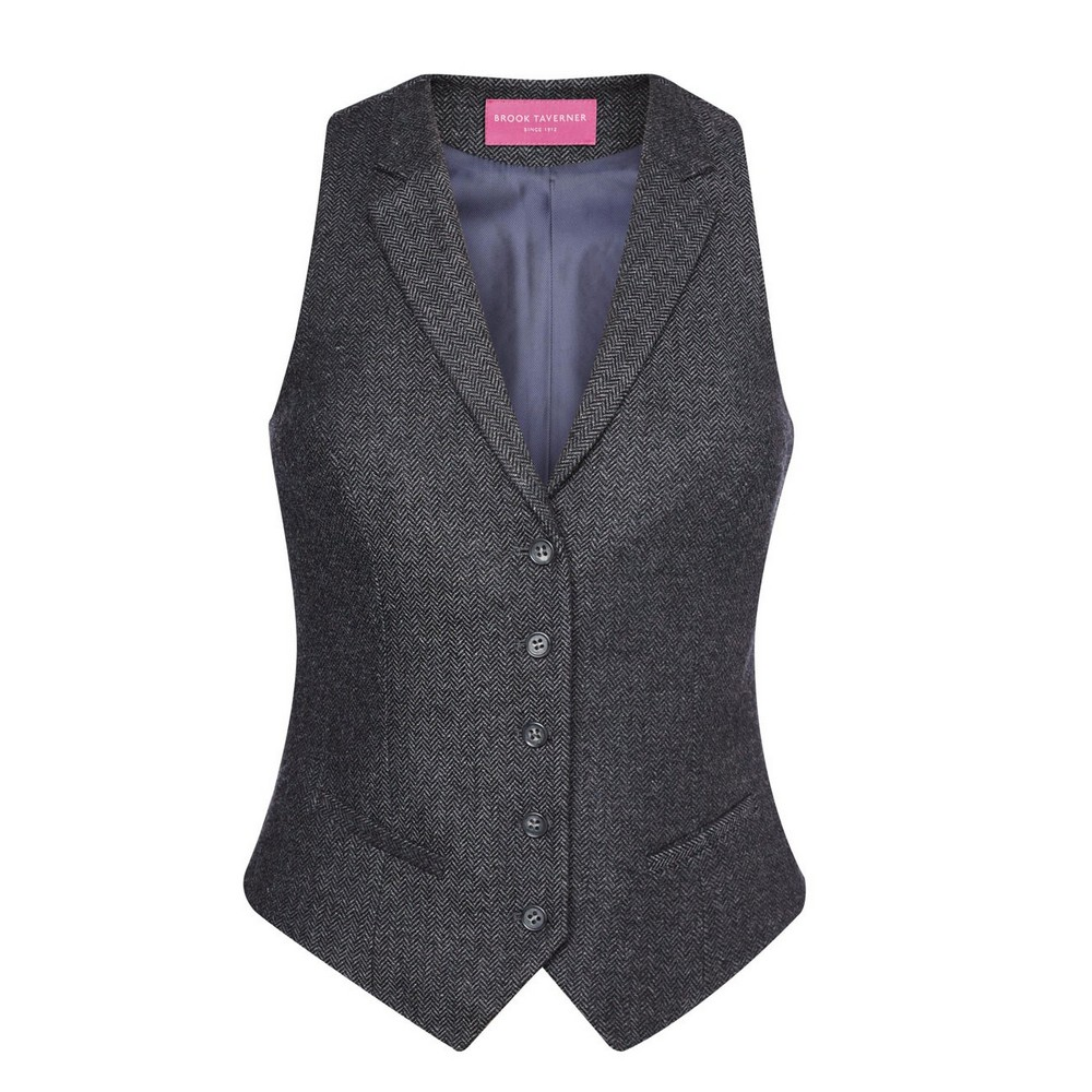 Brook Taverner Womens/Ladies Nashville Waistcoat (XL) (Charcoal Herringbone Grey)