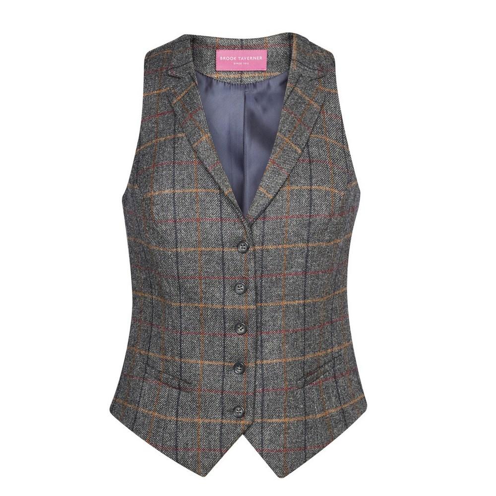 Brook Taverner Womens/Ladies Nashville Waistcoat (XL) (Grey Brown Check)