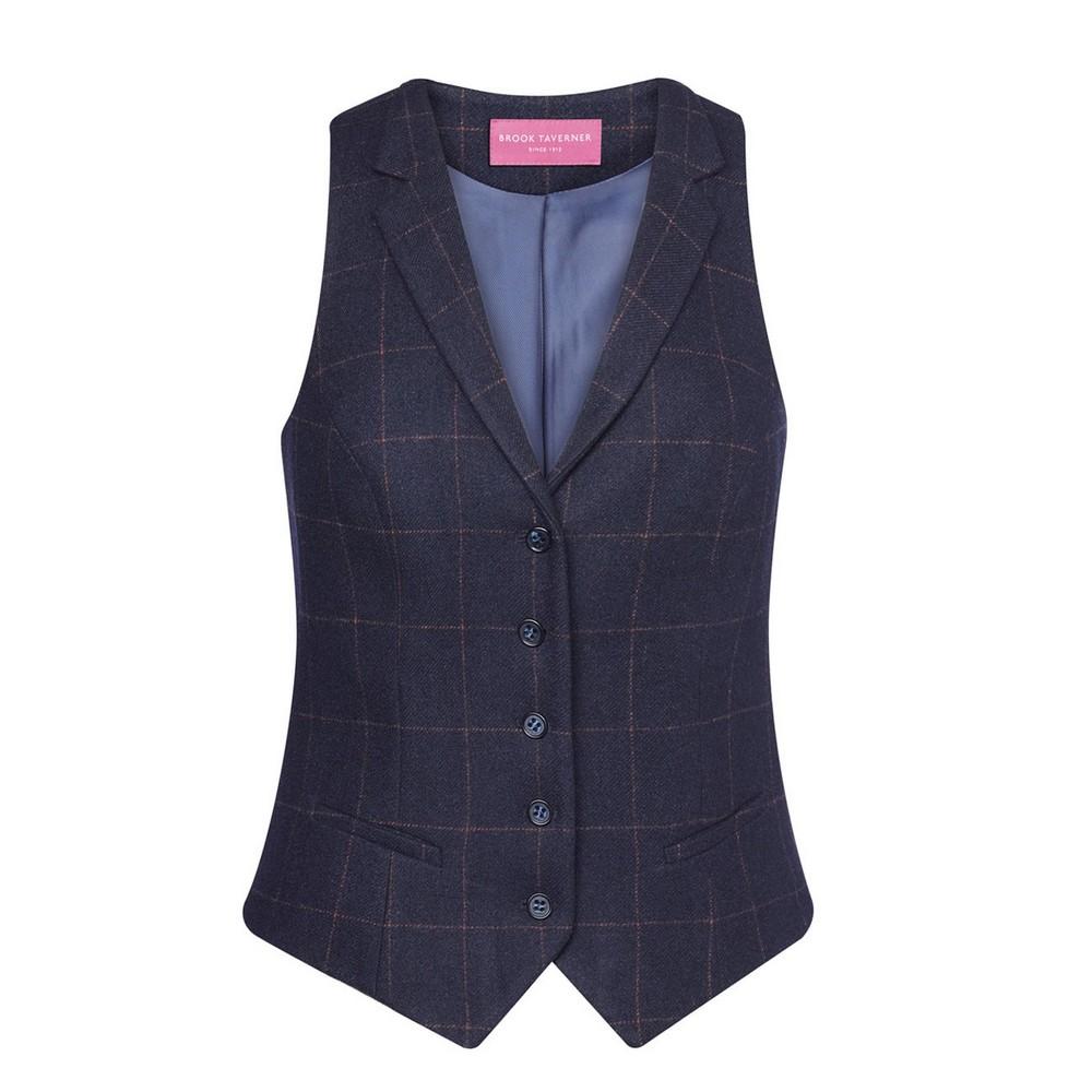 Brook Taverner Womens/Ladies Nashville Waistcoat (XL) (Navy Check)