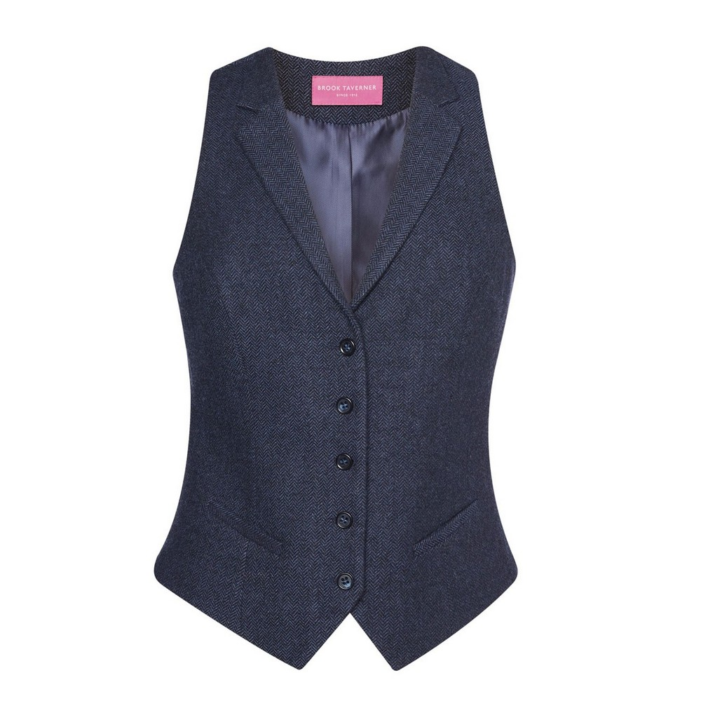 Brook Taverner Womens/Ladies Nashville Waistcoat (XL) (Navy Herringbone)