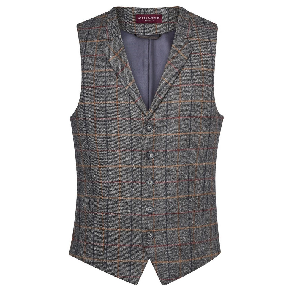 Brook Taverner Mens Memphis Waistcoat (XL) (Grey Brown Check)