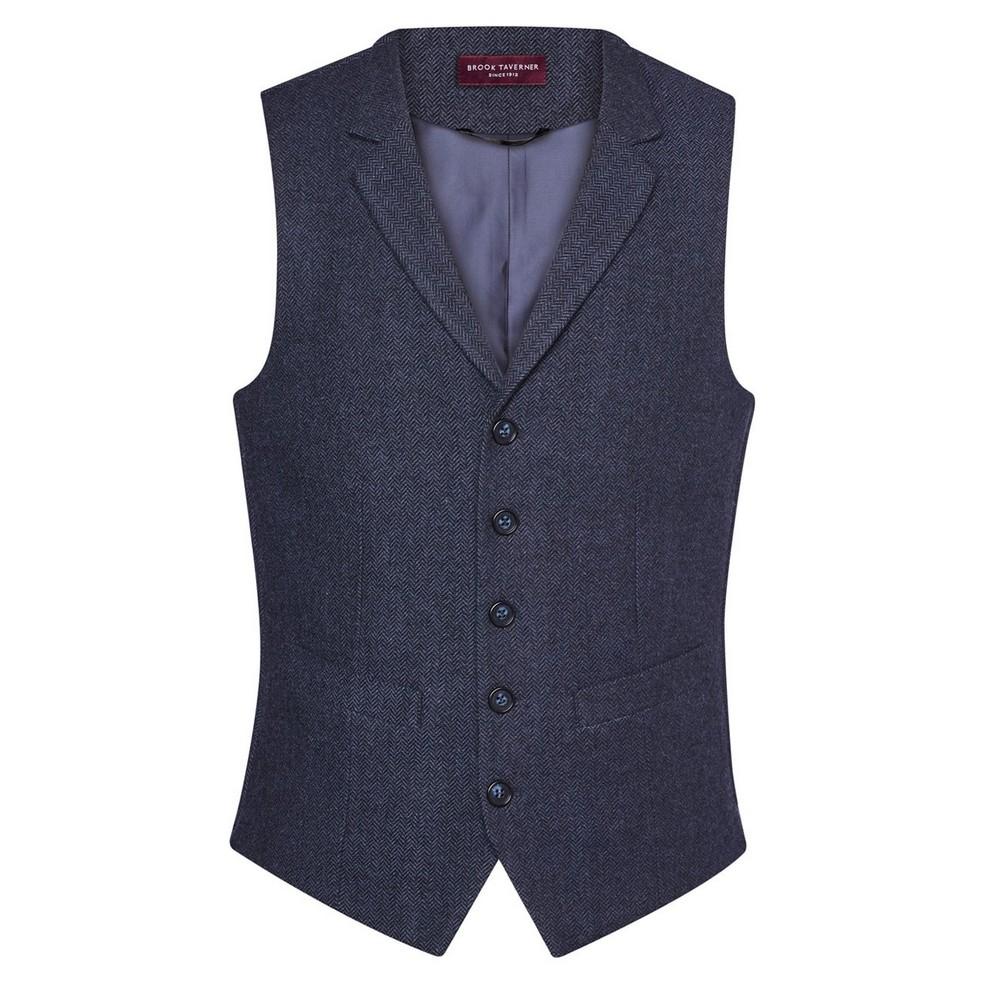 Brook Taverner Mens Memphis Waistcoat (XL) (Navy Herringbone)