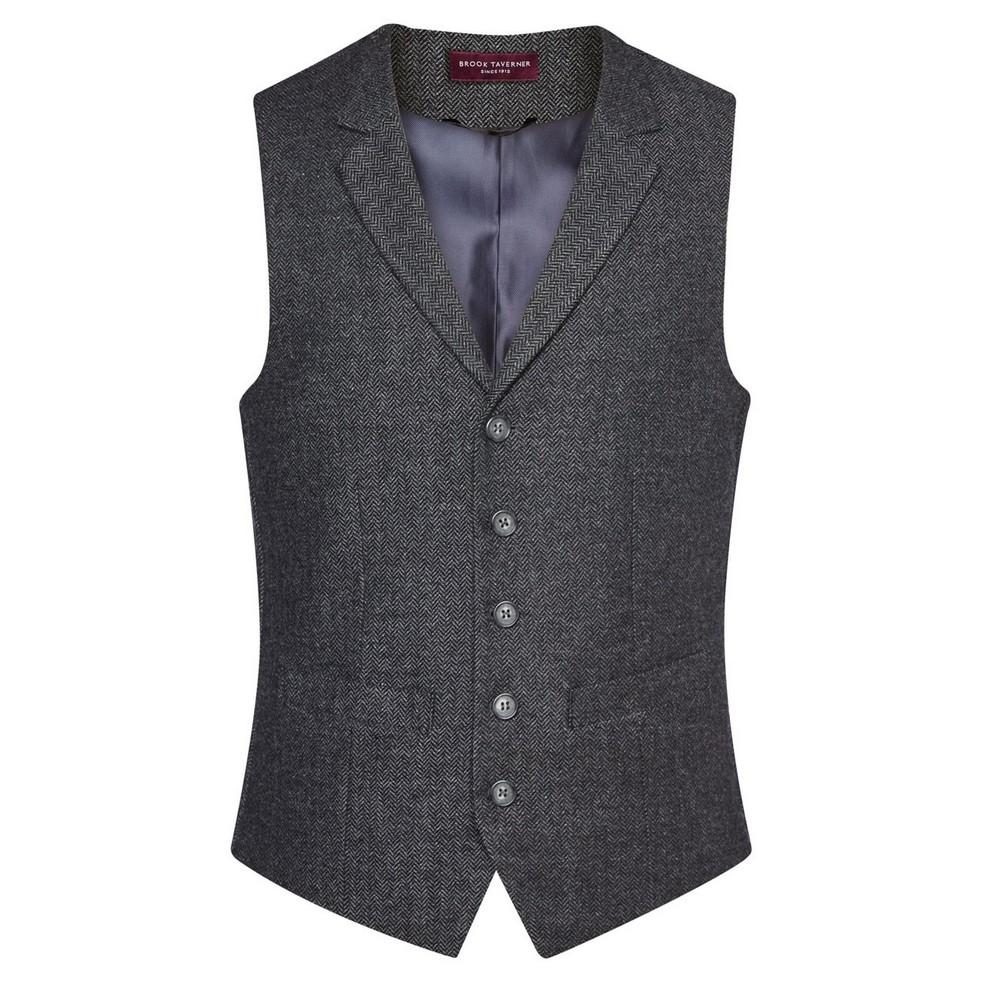 Brook Taverner Mens Memphis Waistcoat (XXL) (Charcoal Herringbone Grey)