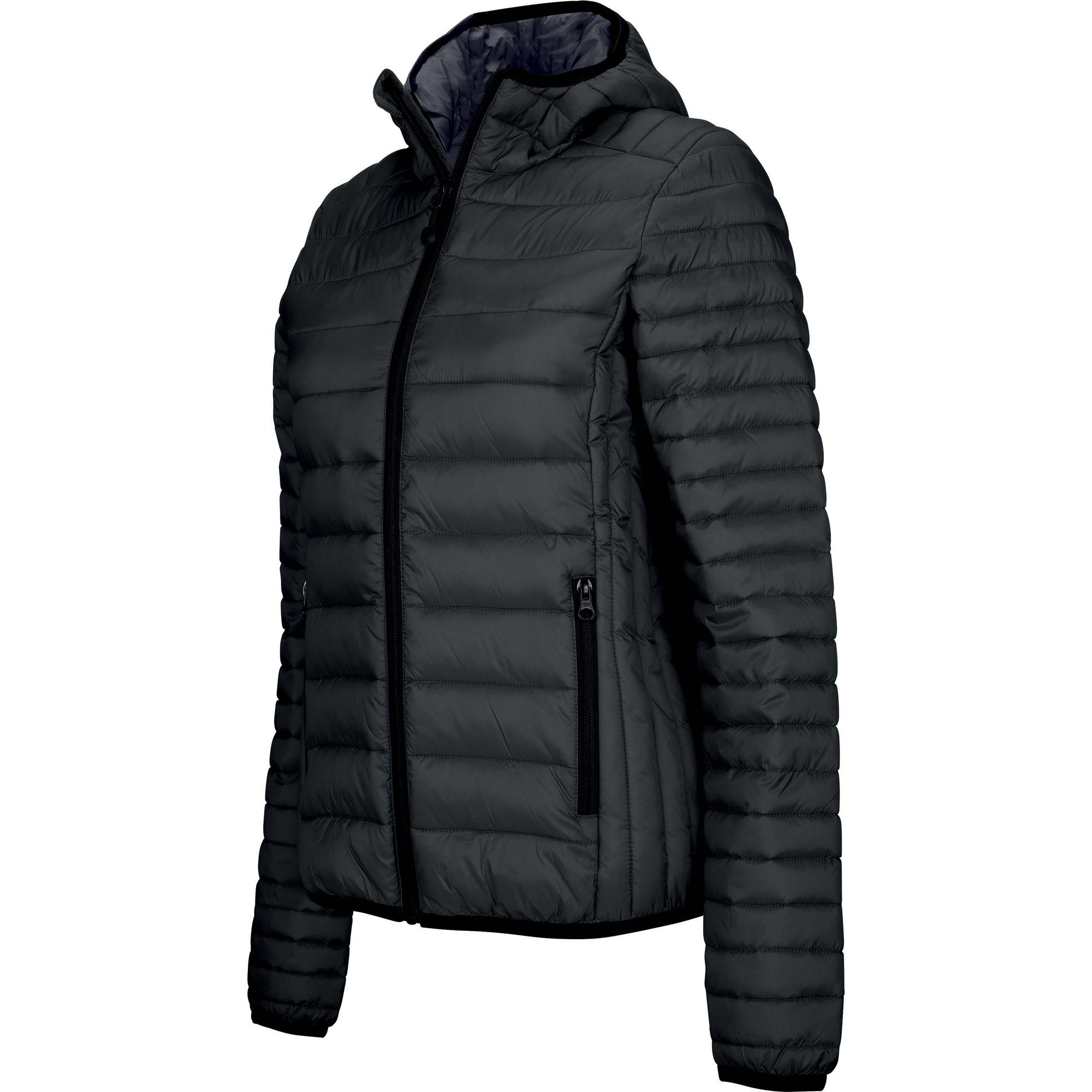 Kariban Womens/Ladies Lightweight Hooded Padded Jacket (S) (Black)