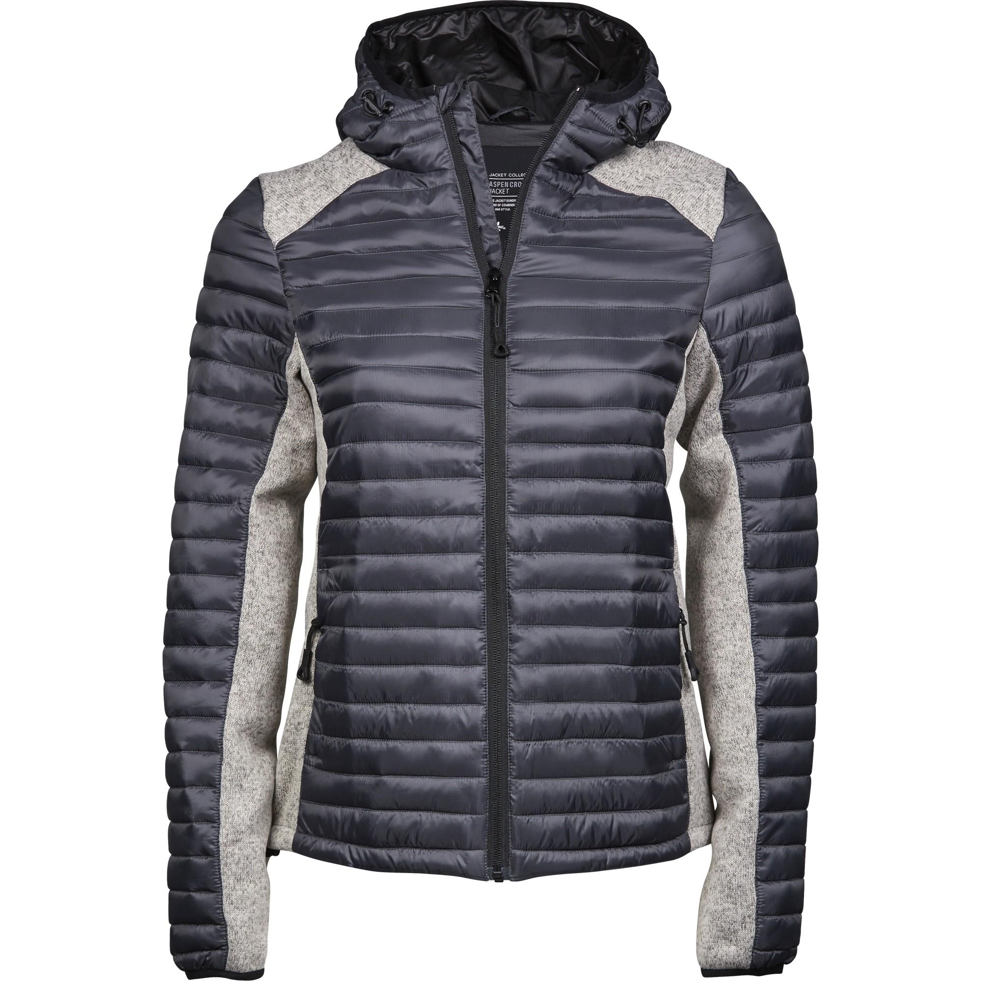 Tee Jays Womens/Ladies Crossover Hooded Padded Outdoor Jacket (XXL) (Space Grey/Grey Melange)