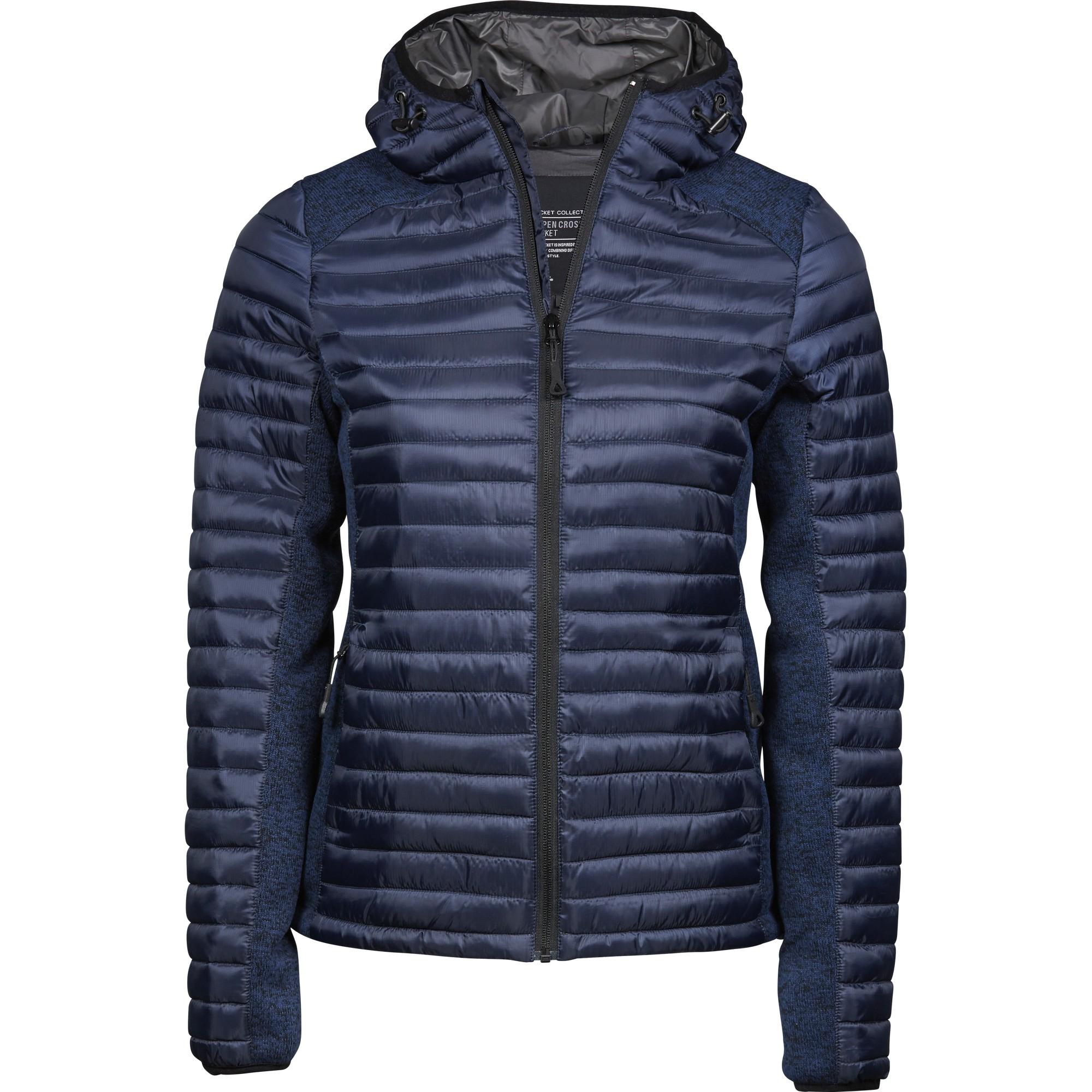 Tee Jays Womens/Ladies Crossover Hooded Padded Outdoor Jacket (S) (Navy/Navy Melange)