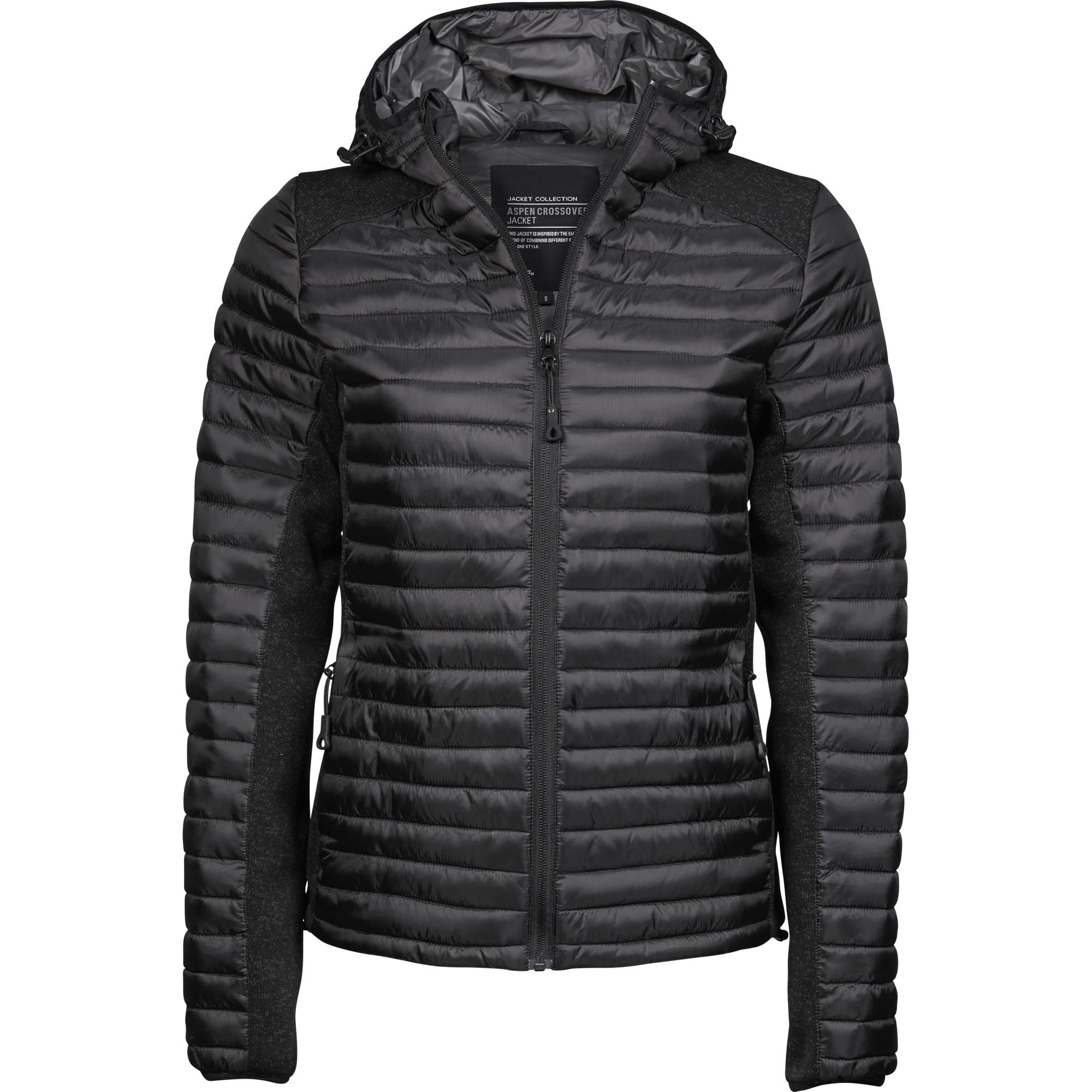 Tee Jays Womens/Ladies Crossover Hooded Padded Outdoor Jacket (S) (Black/Black Melange)