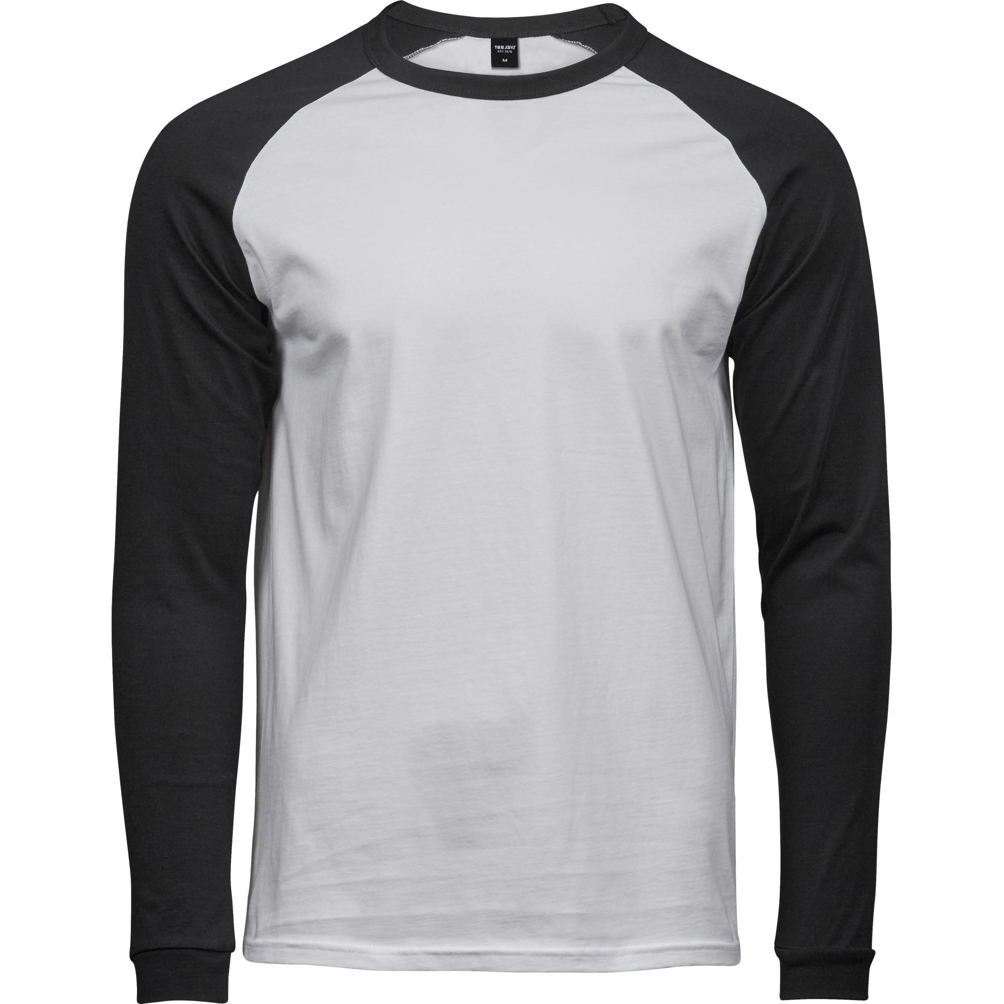 Tee Jays Mens Long Sleeve Baseball T-Shirt (XXL) (White/Black)