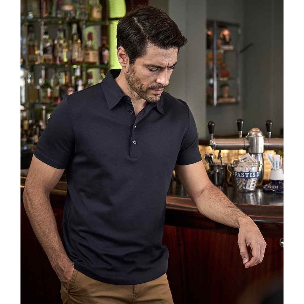Tee Jays Mens Pima Cotton Interlock Polo Shirt (3XL) (Navy)
